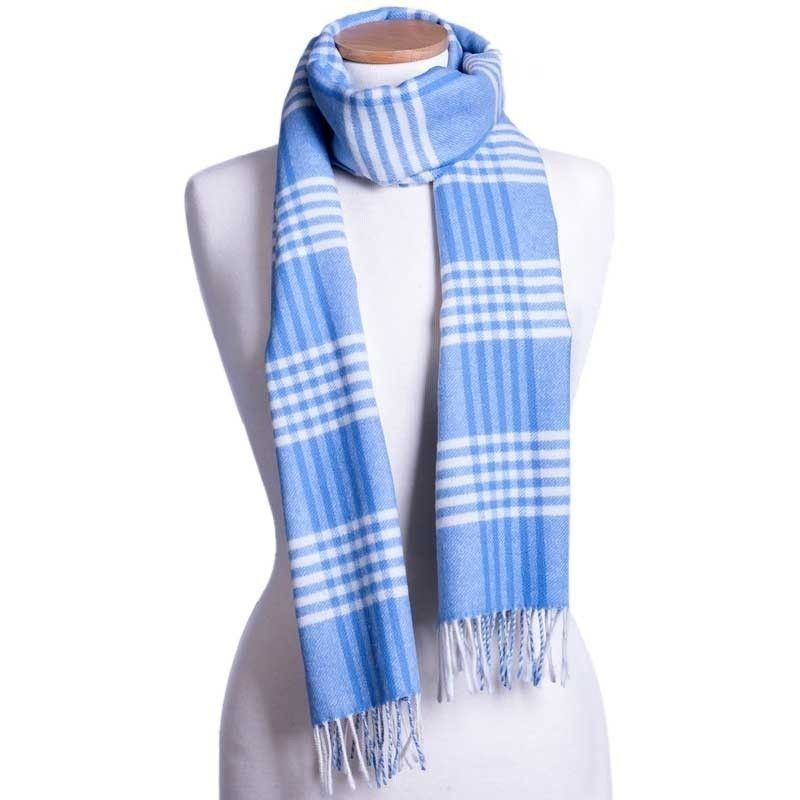 France Blue Check Scarf