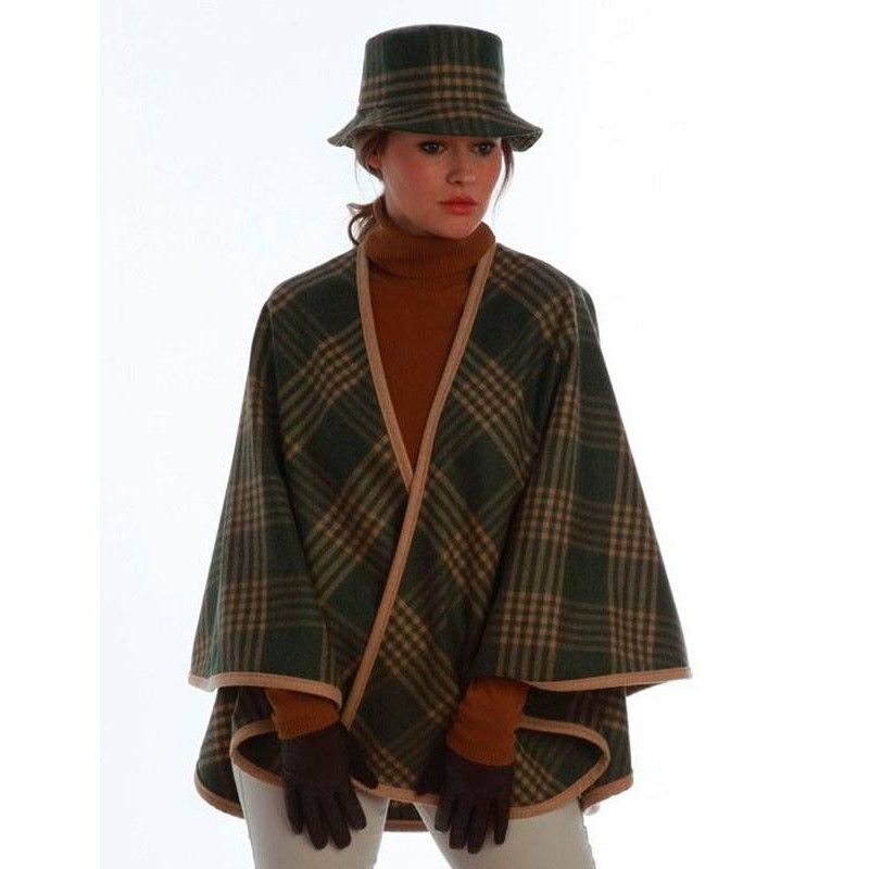 Check Green Wool Cape