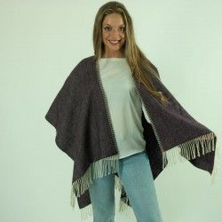 Purple Wool Cape Poncho
