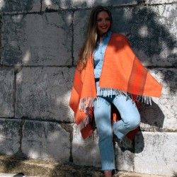 Orange Cape Poncho
